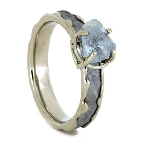 unique wedding ring set meteorite engagement ring and band