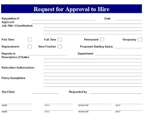 Request Letter For Approval Exle Request For Hire Approval Template Sle