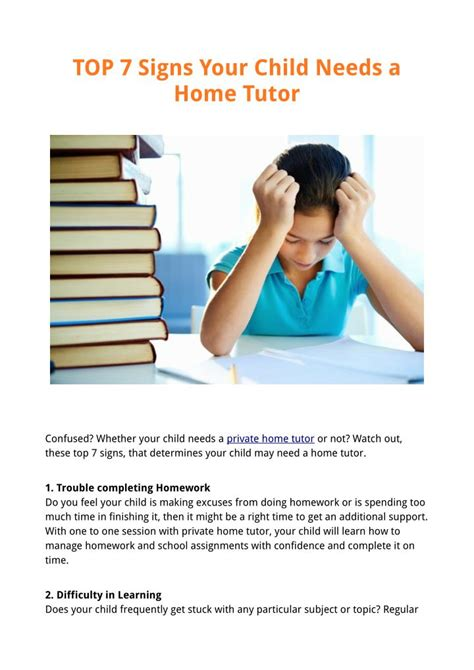 7 Signs That Your Child Is Developing An Disorder by Ppt Top 7 Signs Your Child Needs A Home Tutor Powerpoint