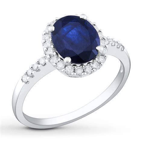sapphire ring 3 8 ct tw diamonds 14k white gold
