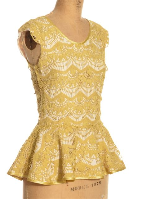 Camilace Dress Balotelly Vg soba peplum top in vintage lemon lace by vita gottlieb tops tank vest cami