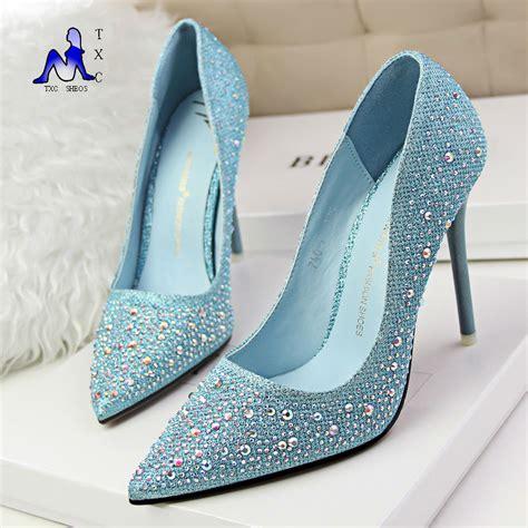pink bottom high heels 2016 new fashion silver rhinestone wedding