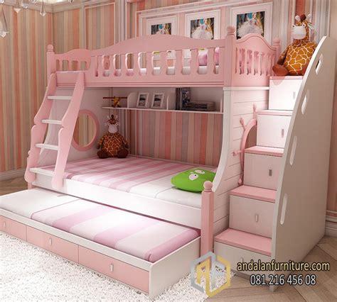 Ranjang Laci tempat tidur tingkat anak kembar perempuan minimalis