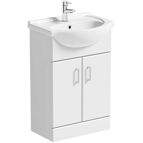 white vanity unit with basin 550mm victoriaplum