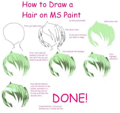 how to paint how to draw hair tutorial on ms paint picture by
