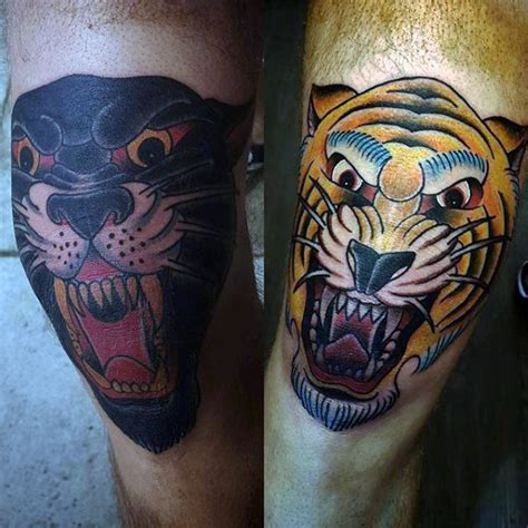 knee cap tattoo 75 traditional tiger designs for striped ink