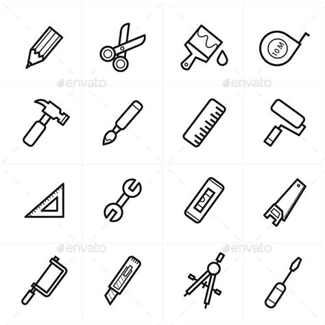 flat line icons for tools related icons vector ill