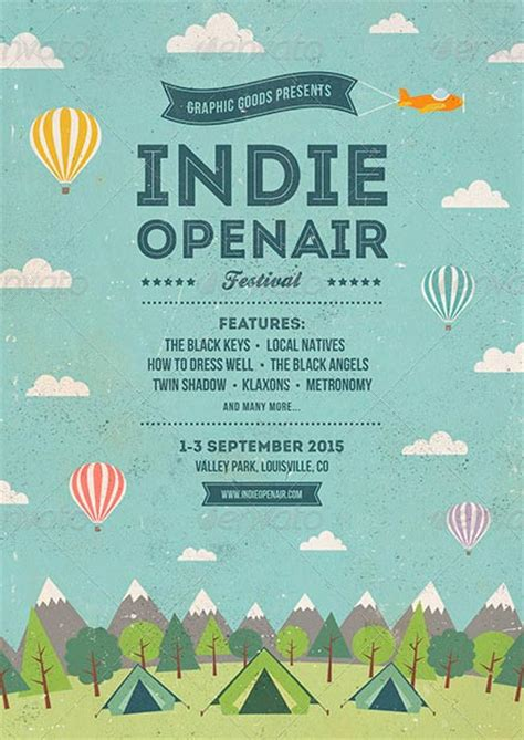 ffflyer indie open air festival flyer and poster template