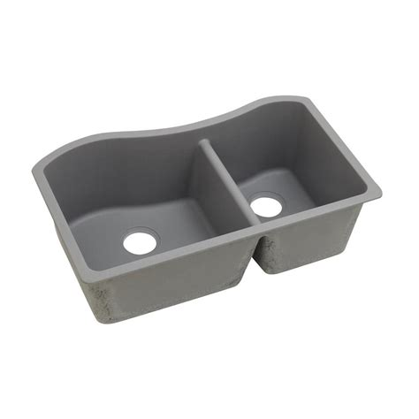 Quartz Composite Kitchen Sinks Elkay Quartz Classic Undermount Composite 33 In Bowl Kitchen Sink In Greystone