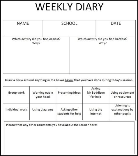 Communication Diary Template