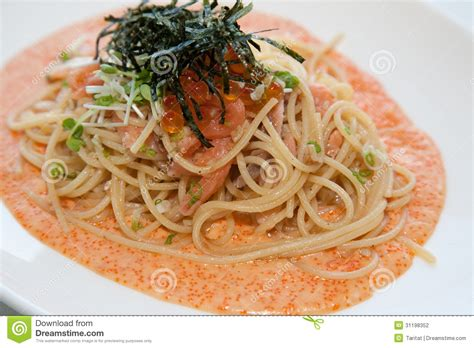cuisine spaghetti japanese fusion food stock photography image