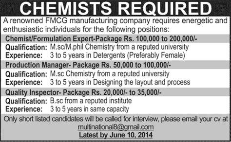 layout inspector jobs chemists quality inspector jobs in lahore 2014 june for