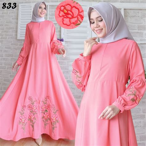 Gamis Khimar Set Maroon Pink gamis maxi katun silky bordir c833 baju muslim modern