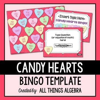 Conversation Hearts Bingo Cards Template by Bingo Template S Day Hearts By All