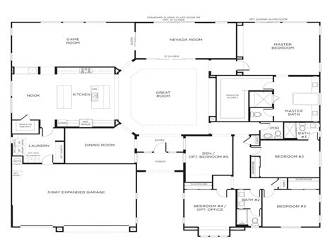 single home floor plans for single bedroom ideas single story 5 bedroom