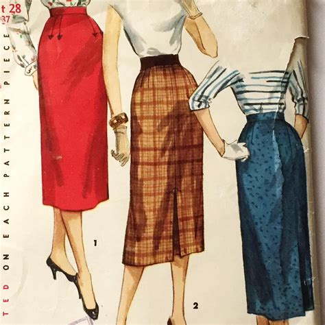 vintage 1955 pencil skirt pattern by simplicity number