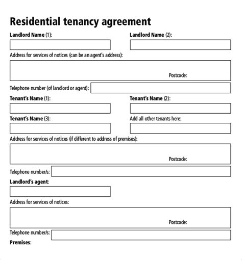 tenancy lease agreement template rental agreement templates 17 free word pdf documents