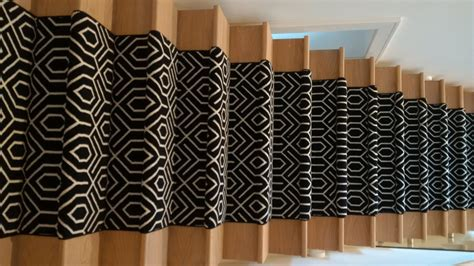 Black Staircase geometric stair runner love your stairs