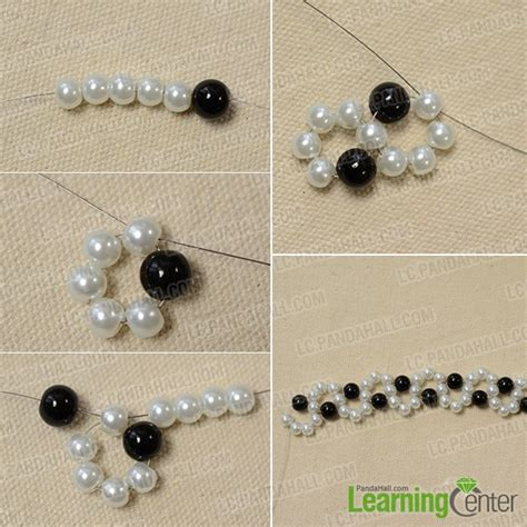 how to make an easy black and white beaded bracelet with