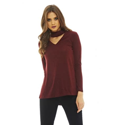 Neck Top choker neck knitted top
