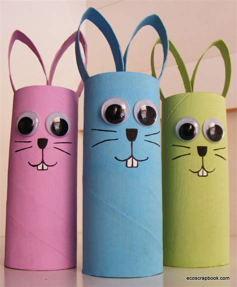 Craft Paper Rolls - preschool crafts for easter bunny toilet roll craft