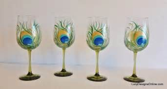Lenox Glass Vase Diy Hand Painted Wine Glasses With Peacock Feather Design