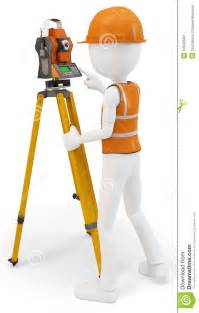 3d man surveyor with station hardhat and safety vest stock images