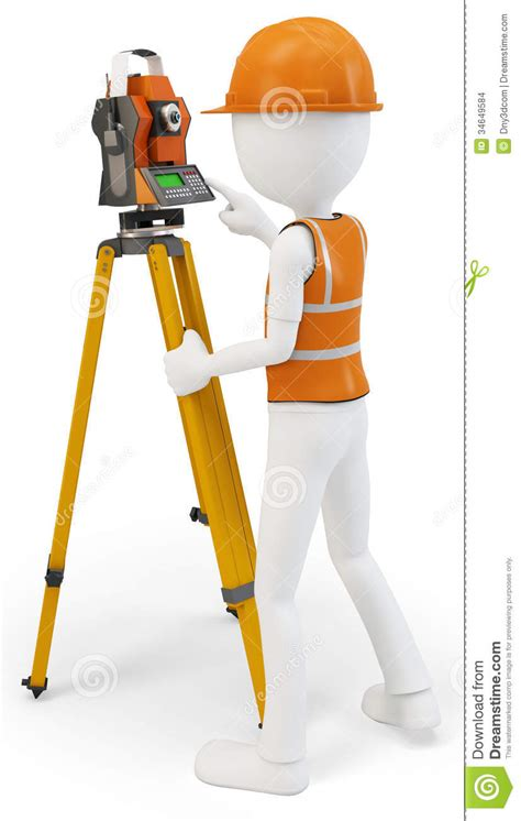 safety man clip art 3d man surveyor with station hardhat and safety vest