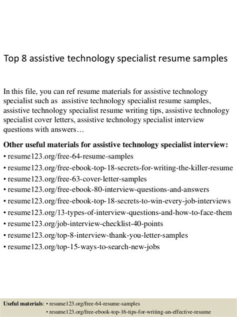 Assistive Technology Specialist Sle Resume top 8 assistive technology specialist resume sles