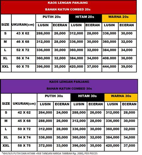 Kaos Polos Lengan Panjang Cotton Combed Model A21 info harga kaos polos cara order