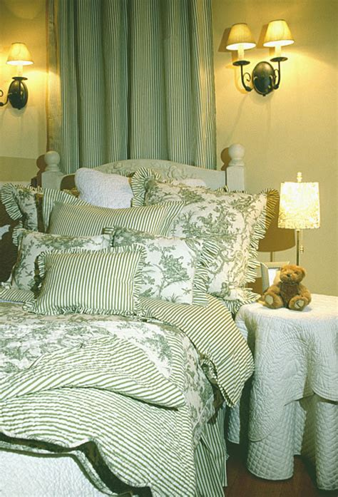 Green Toile Bedding by Versailles Toile Collection Available In Green
