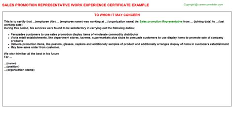 Promotion Letter With Additional Responsibilities sales promotion representative work experience certificate