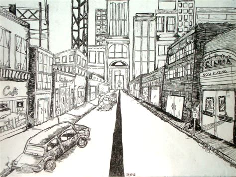 One Point Perspective City Drawing one point perspective city by forgottenpenguin on deviantart