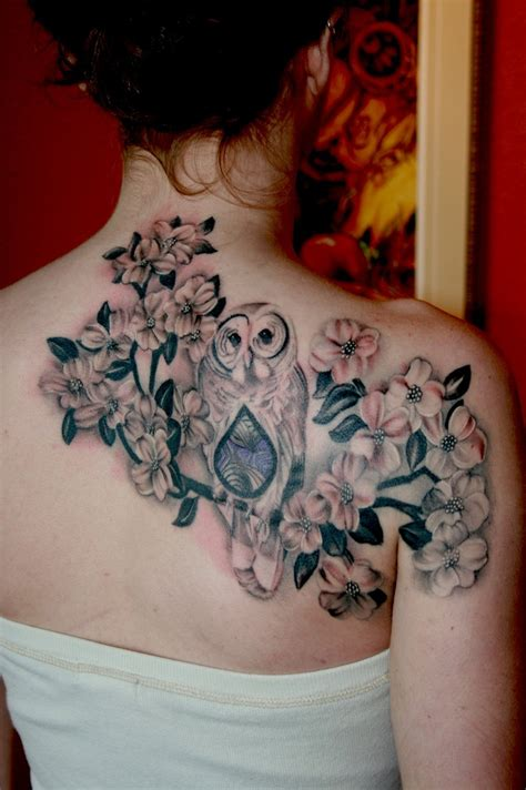 dogwood tattoo owl and dogwood flowers by cara hanson tattoosbycara
