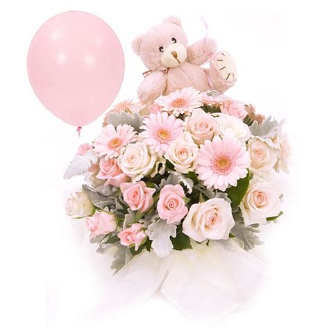 Baby Flowers Delivery by Newborn Baby Flower Basket Soft And Balloon
