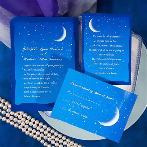 Blue moon and stars wedding invitations EWI195 as low as $0.94