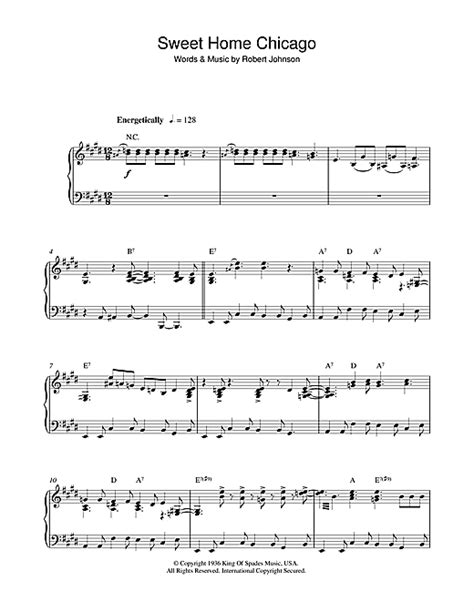 sweet home chicago sheet by robert johnson piano