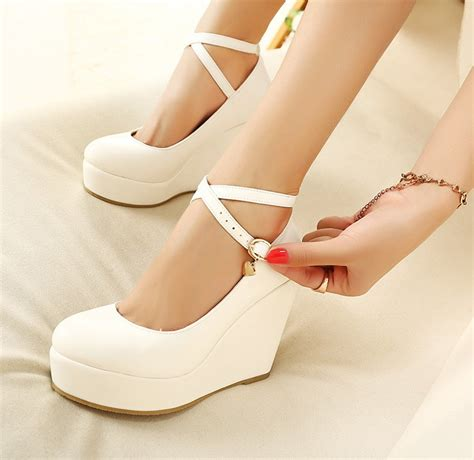 High Heel Brukat White White Wedges Shoes Pumps For Wedges High Heels