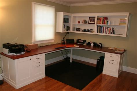 Custom Desk With Shelving Above Traditional Home