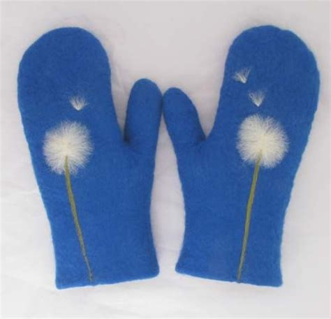 pattern felted mittens free 43 felted wool mittens in royal blue with dandelion