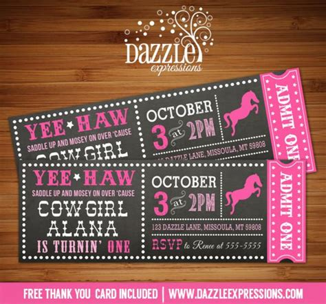 horse birthday party invitations printable or digital file printable chalkboard cowgirl ticket birthday invitation
