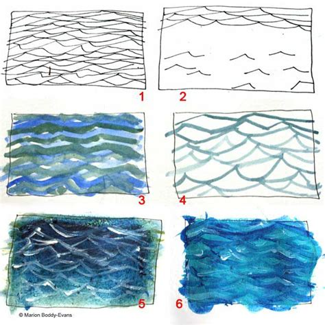 watercolor ocean pattern how to paint ripples in the ocean