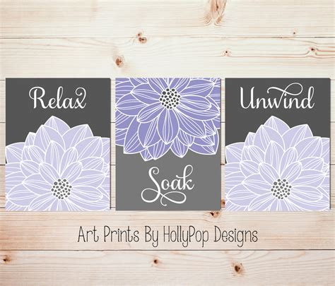 purple bathroom wall decor relax soak unwind purple gray bathroom wall art home decor set
