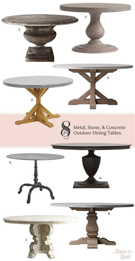 8 Round Metal, Stone, & Concrete Outdoor Dining Tables