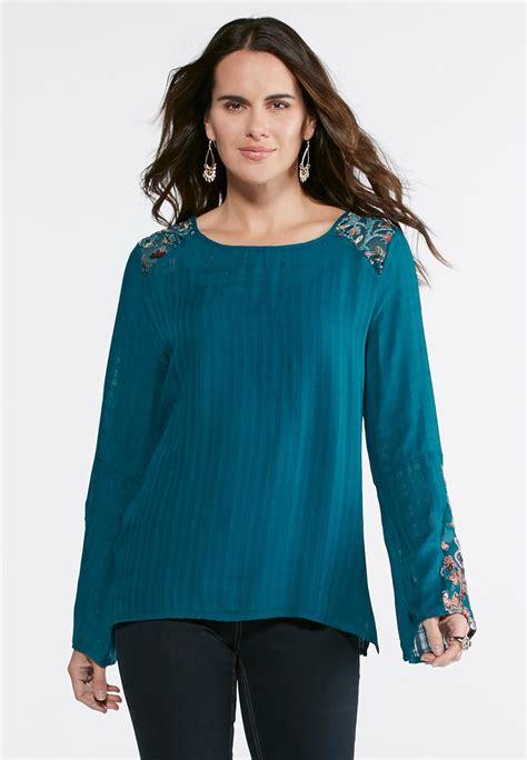 Sleeve Velvet Top bell sleeve velvet trim top shirts blouses cato fashions