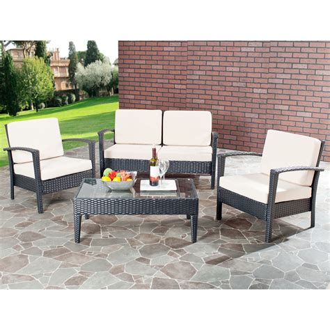 outdoor patio furniture wholesale safavieh watson all weather wicker conversation set