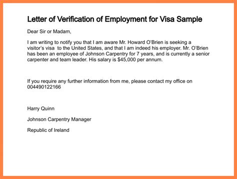 Employment Letter For Singapore Visa 8 Confirmation Of Employment Letter For Bank Bussines 2017