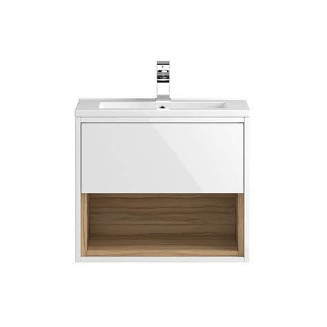coast 600mm wall mounted vanity unit with open shelf basin