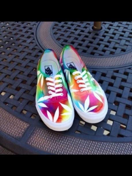 weed pattern vans shoes rainbow tie dye vans marijuana tie dye vans