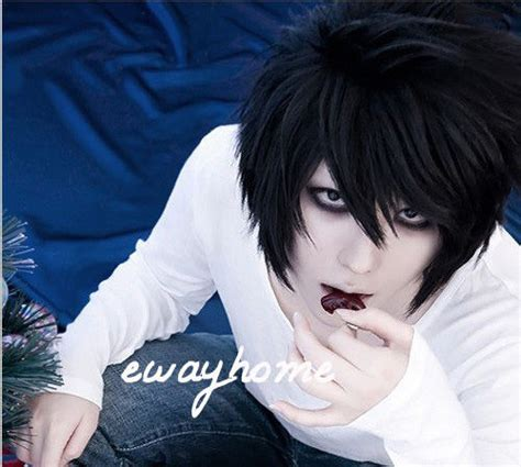 death note l 183 lawliet short layered black cosplay anime hair wig free wig cap ebay